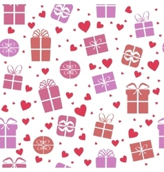 Seamless pattern gift boxes with hearts vector