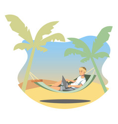 Freelance lifestyle man working on tropical vector