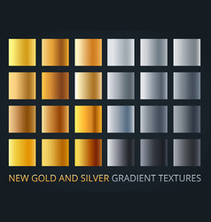 Set of silver and gold gradients on dark vector