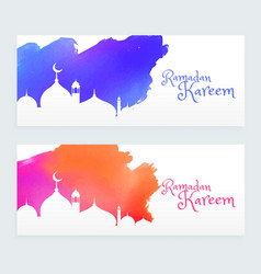 Colorful ramadan kareem islamic festival banners vector