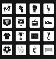 soccer football icons set squares vector image