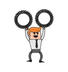 Color pencil cartoon business man holding a gears vector