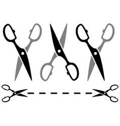 Set metal scissors on white background with dotted vector