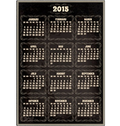 Calendar template for 2015 in retro style vector