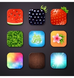Attractive square buttons with different designs vector