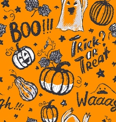 Halloween ink hand drawn ghosts and pumpkins vector