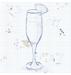 Cocktail alcohol mimosa on a notebook page vector