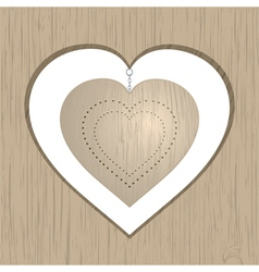 wooden valentine heart vector image