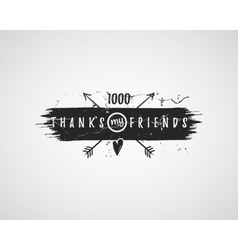 Vintage thank you watercolor ink splash badge vector