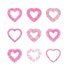 Heart shape frame set made of pink hearts flowers vector