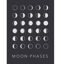 Full cycle moon phases background vector image