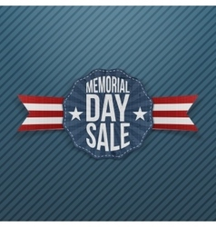 Memorial day sale festive emblem with ribbon vector