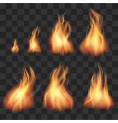 Realistic fire animation sprites flames set vector