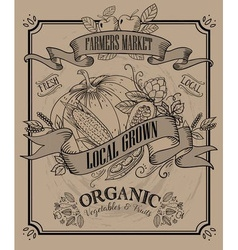 Vintage farmers market signage vector