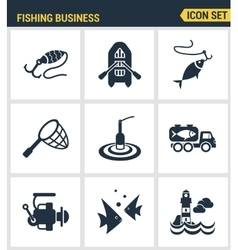 Icons set premium quality of fishing business vector