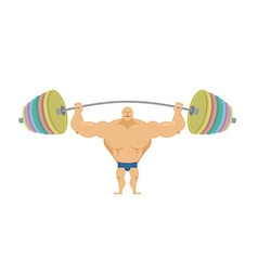 Bodybuilder raises sports barbell with colored vector image