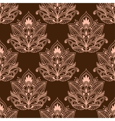 Brown persian paisley seamless floral pattern vector
