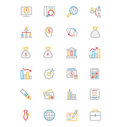 Business and Finance Colored Outline Icons 1 vector image vector image