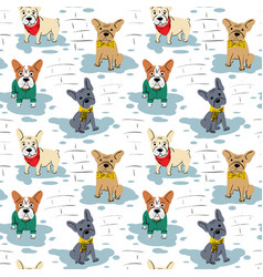 cartoon character french bulldog seamless pattern vector image