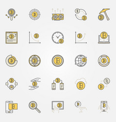 Cryptocurrency colorful icons set vector