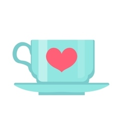 Cup with heart flat design isolated on white vector