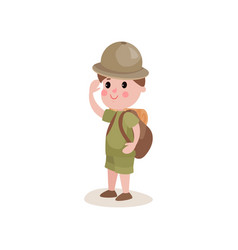flat cartoon character boy scout standing with vector image