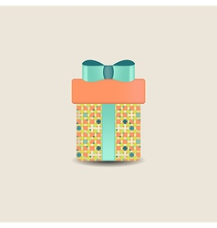 Gift box with bow and ribbon vector
