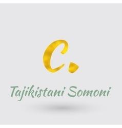 Golden symbol of the tajikistan somoni vector