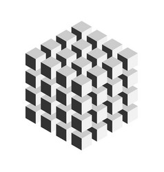 Grey geometric cube of 64 smaller isometric cubes vector