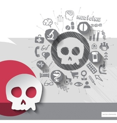 Hand drawn skull icons with icons background vector