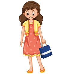 Happy woman with shopping bag vector