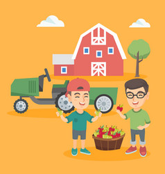 little caucasian boys with apples in the backyard vector image