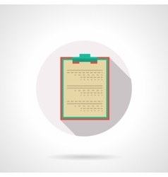 Medical clipboard flat color design icon vector
