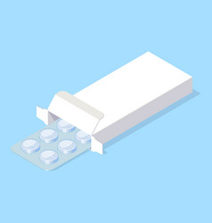 Medical pills blister in white package box vector