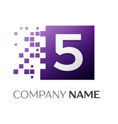 number five logo symbol in the colorful square on vector image vector image