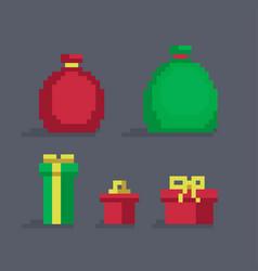 pixel art christmas gifts vector image vector image