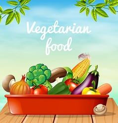 Poster design with vegetarian food vector image