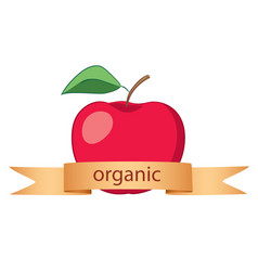 Red apple with gold ribbon - organic logo vector