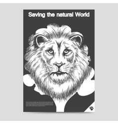 Saving nature lion head brochure template vector image