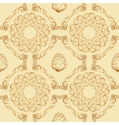 Seamless textures with hop floral ornament vector