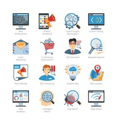 SEO And Web Development Flat Icons Set vector image vector image