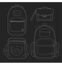 Set of 4 fashionable man bags Chalk vector image vector image
