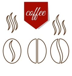 set of coffee beans lines vector image vector image