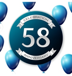 Silver number fifty eight years anniversary vector