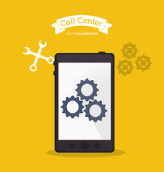 Smartphone call center online tools vector