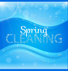 Spring cleaning banner with washing soap foam vector