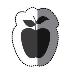 Sticker monochrome apple fruit icon vector