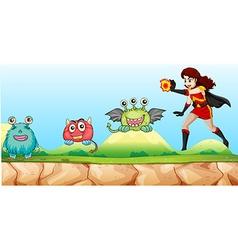 Superhero fighting monsters in the park vector