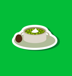 Sweet dessert in paper sticker bread-soup with vector