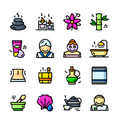 Thin line spa icons set vector